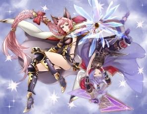 Konachan.com - 202052 2girls animal_ears armor blue_hair braids cape granblue_fantasy long_hair pink_hair weapon yuzuki_karu