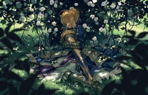 Konachan.com - 202279 armor blonde_hair dress fate_stay_night flowers grass leaves saber seeker sleeping sword weapon