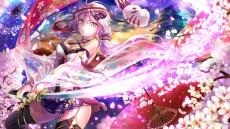 Konachan.com - 202452 breasts building cleavage katana long_hair mask purple_hair sword thighhighs twintails umbrella vocaloid weapon yuzuki_yukari zettai_ryouiki