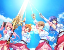 Konachan.com - 202643 atou_subaru game_cg group kunai_uri noblesse_of_rouge suzakuooji_hotoha sword tagme_(character) tani_an weapon