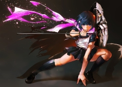 Konachan.com - 203411 cape katana kneehighs ninja ninja_slayer scarf short_hair skirt sukenume sword weapon yamoto_koki