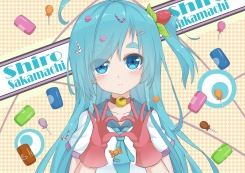 Konachan.com - 203964 aqua_hair blue_eyes candy gloves l4no-shiro long_hair original shiro_sakamachi