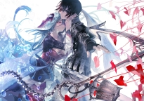 Konachan.com - 204101 aikawa_kanami aqua_hair black_hair bubbles isekai_meikyuu_no_saishinbu_wo_mezasou lastiara_whoseyards male short_hair sword ukai_saki weapon