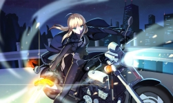 Konachan.com - 204347 blonde_hair blue_eyes city fate_stay_night fate_zero gloves long_hair motorcycle night ponytail saber suit sword tie vmax-ver weapon