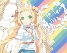 Konachan.com - 204723 animal_ears blonde_hair candy choker cropped feathers foxgirl green_eyes h2so4 island_of_horizon lollipop original rainbow scan tie twintails