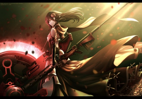 Konachan.com - 210060 armor black_hair cross dishwasher1910 dress flowers gun hoodie long_hair red ruby_rose rwby scythe tagme_(artist) watermark weapon yellow_eyes