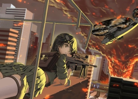 Konachan.com - 214421 aircraft black_hair brown_eyes building city combat_vehicle fire gloves gun harumaki-0327 military original skirt thighhighs uniform weapon