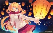 Konachan.com - 214989 aizawa_hikaru aqua_eyes blonde_hair blush long_hair microsoft scarf shinia skirt valentine