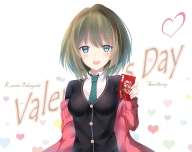 Konachan.com - 215043 blue_eyes blush chocolate heart idolmaster_cinderella_girls seedkeng seifuku short_hair takagaki_kaede tie