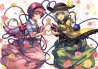 Konachan.com - 215118 2girls berabou flowers hat headband heart komeiji_koishi komeiji_satori rose short_hair skirt touhou