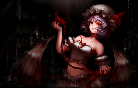 Konachan.com - 215382 blood choker hat kiyomasa_ren navel red_eyes remilia_scarlet short_hair skirt touhou vampire wings