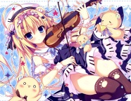 Konachan.com - 196816 blonde_hair blue_eyes dress instrument long_hair nopan original shiramochi_sakura thighhighs violin