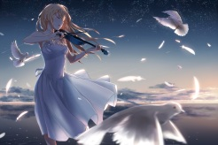 Konachan.com - 197071 animal bird blonde_hair clouds dress feathers instrument long_hair miyazono_kawori petals phantania shigatsu_wa_kimi_no_uso sky tears violin water