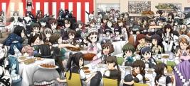 Konachan.com - 202516 food group hamu_koutarou hiei_(kancolle) kaga_(kancolle) kiso_(kancolle) maid maya_(kancolle) naka_(kancolle) ooi_(kancolle) seaport_hime