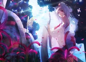 Konachan.com - 207894 animal_ears butterfly flowers hat inubashiri_momiji jpeg_artifacts pink_eyes short_hair sword touhou tree weapon white_hair wolfgirl