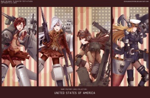 Konachan.com - 211463 animal_ears black_hair blonde_hair blue_eyes cosplay gray_eyes gun long_hair military ruby_rose rwby short_hair watermark weapon white_hair