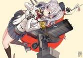 Konachan.com - 211738 akasaai blue_eyes boat gloves gray_hair hat kantai_collection kashima_(kancolle) kneehighs long_hair skirt twintails uniform weapon