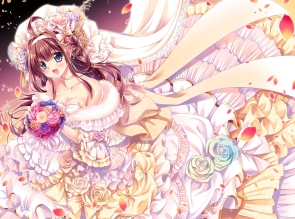 Konachan.com - 211785 blue_eyes bow breasts brown_hair byruu cleavage dress flowers headband headdress kantai_collection long_hair petals ribbons wedding_attire