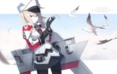 Konachan.com - 212539 animal bird blonde_hair elbow_gloves ello-chan graf_zeppelin_(kancolle) hat jpeg_artifacts kantai_collection skirt uniform