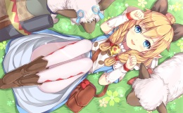 Konachan.com - 212821 animal animal_ears blonde_hair blue_eyes blush boots cat_smile grass monster_hunter nikkunemu pantyhose pointed_ears sheep