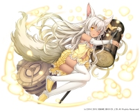 Konachan.com - 212890 animal_ears bloomers breasts cleavage gray_hair hat long_hair namaru_(summer_dandy) navel orange_eyes tail thighhighs watermark weapon wink