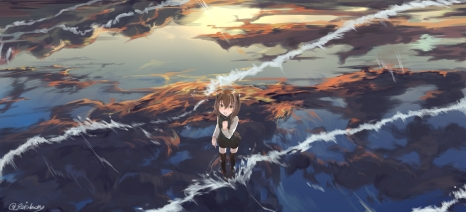 Konachan.com - 213760 brown_hair kantai_collection mugcup scenic short_hair taihou_(kancolle) thighhighs water