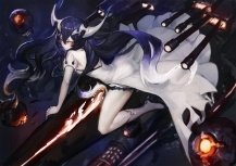 Konachan.com - 213830 anchorage_water_demon black_hair boots dress gods horns kantai_collection kneehighs long_hair weapon