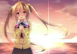 Konachan.com - 214392 aliasing blonde_hair blush kantai_collection kei_nyara long_hair murasame_(kancolle) red_eyes seifuku sky sunset twintails water