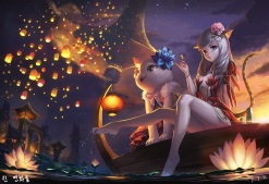 Konachan.com - 214882 animal_ears barefoot blade_&_soul blue_eyes boat catgirl flowers food gray_hair night original santafe99 signed skirt sunset tail water