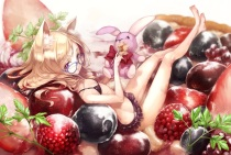 Konachan.com - 215140 animal_ears barefoot blonde_hair bunny dearrose food fruit glasses original red_eyes