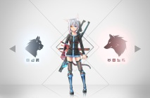 Konachan.com - 216565 aliasing allen.n animal_ears bicolored_eyes boots dress gray_hair hoodie original short_hair sword tail techgirl thighhighs weapon zettai_ryouiki