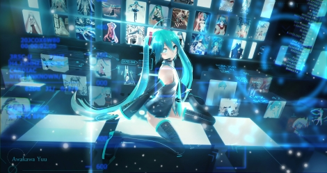 Konachan.com - 216597 3d aqua_eyes aqua_hair awakawayui blue hatsune_miku long_hair microphone tattoo twintails vocaloid