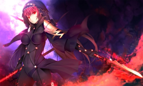 Konachan.com - 216901 armor bodysuit breasts fate_grand_order fate_(series) headdress red_eyes red_hair skintight spear tetsu_(countryside) weapon