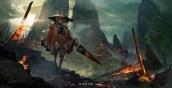 Konachan.com - 217204 animal_ears fire hat landscape pixiv_fantasia rounin_(amuza) scenic umbrella