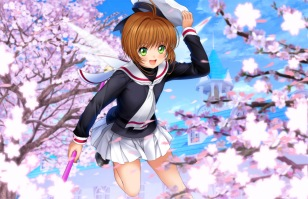 Konachan.com - 198272 brown_hair card_captor_sakura cherry_blossoms green_eyes hat kinomoto_sakura moonknives seifuku short_hair