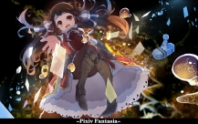Konachan.com - 198830 boots bow brown_hair dress long_hair pantyhose pixiv_fantasia red_eyes tagme_%28artist%29