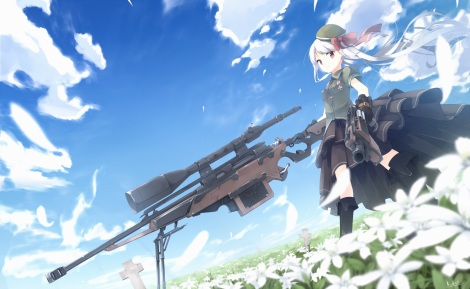 Konachan.com - 217994 boots bow clouds flowers gun hat kneehighs long_hair makadamixa original red_eyes skirt sky weapon white