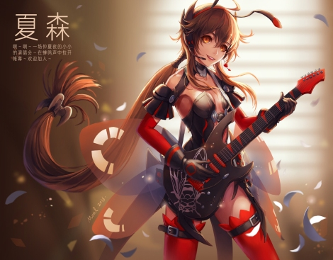 Konachan.com - 218230 guitar instrument long_hair mool vocaloid vocaloid_china yuezheng_ling