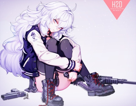 Konachan.com - 218383 bandaid boots gun hwansang knife long_hair original panties thighhighs underwear weapon white_hair