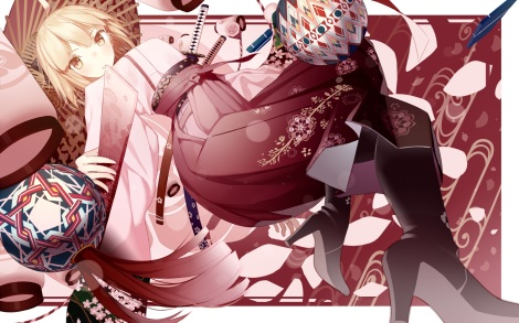 yande.re 351692 atha fate_grand_order heels japanese_clothes saber sakura_saber sword umbrella wallpaper