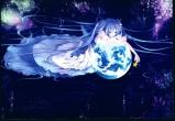 Konachan.com - 200667 blue_eyes blue_hair hatsune_miku long_hair planet space stars twintails vocaloid
