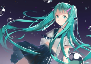 Konachan.com - 200868 aqua_eyes aqua_hair blue_hair bubbles hatsune_miku long_hair seifuku twintails vocaloid