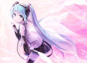 Konachan.com - 201640 hatsune_miku headphones long_hair microphone pomon_illust skirt thighhighs twintails vocaloid