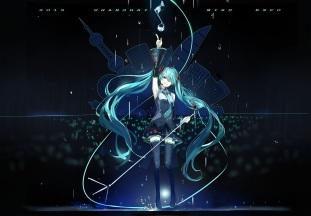 Konachan.com - 202865 hatsune_miku long_hair microphone music saberiii skirt thighhighs twintails vocaloid zettai_ryouiki