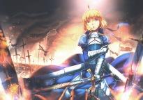 Konachan.com - 204651 aoki_(miharuu) blonde_hair blood fate_stay_night green_eyes saber sword weapon