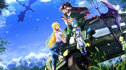 Konachan.com - 204654 landscape leaves long_hair male military phone scenic short_hair staff swordsouls uniform weapon wristwear