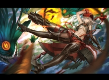 Konachan.com - 204709 alisa_ilinichina_amiella boots breasts elbow_gloves god_eater god_eater_burst gun hat skirt underboob weapon zhouran