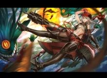 Konachan.com - 204709 alisa_ilinichina_amiella boots breasts elbow_gloves god_eater god_eater_burst gun hat skirt underboob weapon zhouran