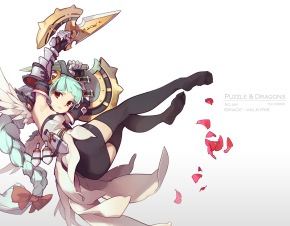 Konachan.com - 204733 aqua_hair armor bow braids knife long_hair petals puzzle_&_dragons red_eyes skirt tennohi thighhighs valkyrie_(p&d) weapon zettai_ryouiki