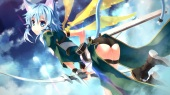 Konachan.com - 205565 bow_(weapon) catgirl clouds shinon_(sao) short_hair shorts sword_art_online tail weapon wings yuuki_tatsuya